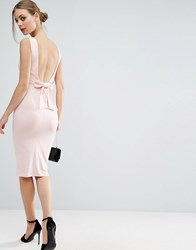 Asos Bow Back Midi Bodycon Pencil Dress Nude Pink