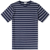 Sunspel Wide Stripe Crew Neck Tee Blue