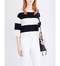 J Brand Fashion Estero Knitted Wool Jumper Cream Black Iris