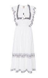 Sea Amelie Embroidered Ruffle Dress White
