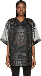Ktz Black Chiffon Patchwork Oversized T Shirt