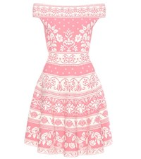 Alexander Mcqueen Jacquard Off The Shoulder Dress Pink