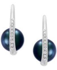 Effy Pearl Lace By Cultured Black Tahitian Pearl 8Mm And Diamond 1 8 Ct. T.W. Drop Earrings In 14K White Gold