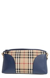 Burberry 'Horseferry Chichester' Leather And Nylon Crossbody Bag Blue Honey Brilliant Navy