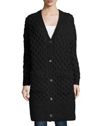 Michael Kors Collection Button Front Textured Long Cardigan Women's Size Xs S Grey Charcoal Melange