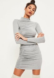 Missguided Grey Ruched Detail Bodycon Dress