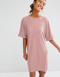 Daisy Street Oversized T Shirt Dress With Rolled Sleeves Dusty Rose Pink