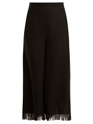 Andrew Gn Wide Leg Frayed Cuff Linen Cropped Trousers Black