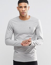 Religion Crew Neck Long Sleeve T Shirt In Muscle Fit Grey Marl