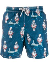 Mc2 Saint Barth Shark Swim Shorts Blue