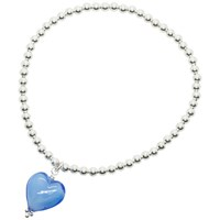 Martick Sterling Silver Murano Heart Charm Beaded Ball Bracelet Blue