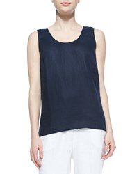 Go Silk Linen Scoop Neck Tank Midnight Petite Black