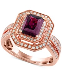 Effy Collection Bordeaux By Effy Rhodolite Garnet 1 5 8 Ct. T.W. And Diamond 3 8 Ct. T.W. Double Frame Ring In 14K Rose Gold
