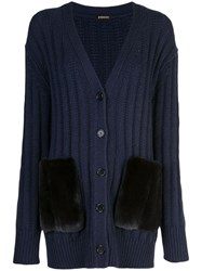 Adam By Adam Lippes Ribbed Knit Cardigan Blue