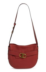 Tory Burch 'Gemini' Belted Leather Hobo Red Redwood