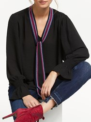 And Or Edyta Tie Neck Blouse Black Teaberry
