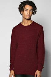 Boohoo Mixed Yarn Crew Neck Sweater Wine