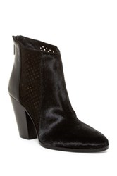 Diane Von Furstenberg Auletta Perforated Genuine Hair Calf Bootie Black