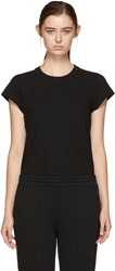 Alexander Wang T By Black Cap Sleeve Fitted Bodysuit