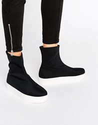 Monki Slip On Flatform Trainer Black