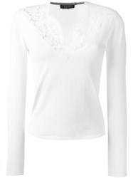 Twin Set Lace V Neck Jumper White