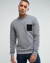 Esprit Crew Neck Sweatshirt With Contrast Pocket Medium Grey