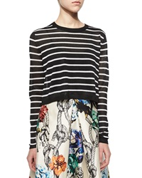 Tibi Nautical Stripe Cropped Pullover Sweater