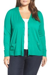 Sejour Plus Size Women's V Neck Pocket Cardigan Green Golf