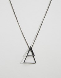 Icon Brand Geometric Necklace In Black Black