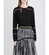 Peter Pilotto Wave Detailed Knitted Jumper Gold Black