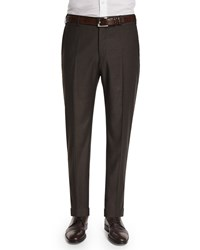 Zanella Parker Flat Front Super 130'S Flannel Trousers Brown