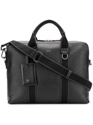 Hugo Boss Textured Leather Messenger Bag Black