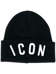 Dsquared2 Icon Slogan Beanie Hat Men Wool One Size Black