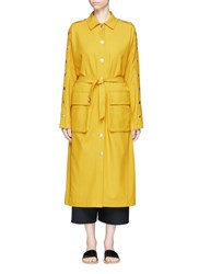 Tibi Belted Split Sleeve Twill Trench Coat Yellow