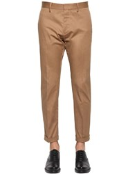 Dsquared 17Cm Cool Guy Stretch Cotton Twill Pants Camel
