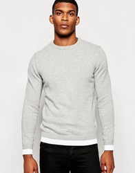 Reiss Knitted Jumper With Contrast Hem Grey