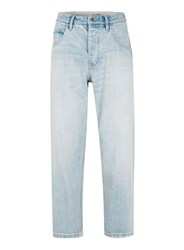 Topman Design Bleach Wash Blue Wide Leg Jeans