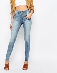 Vila High Waisted Raw Hem Skinny Jeans Medium Blue Denim