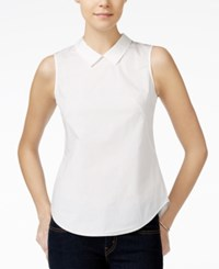 Armani Exchange Collared Blouse Solid White