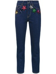 Attico Regular Fit Cropped Jeans With Sequin Embellished Stars Cotton Pvc Blue