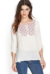 Forever 21 Embroidered Gauze Peasant Top