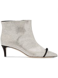 Marco De Vincenzo Crystal Bow Embellished Ankle Boots Metallic