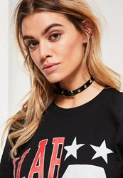 Missguided Black Star Stud Choker Necklace