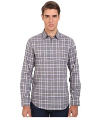 John Varvatos Slim Fit Plaid Sport Shirt W434r4l Ash Heather Men's Long Sleeve Button Up Beige