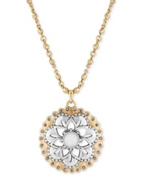 Lucky Brand Two Tone Long Floral Pendant Necklace Two Tone
