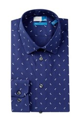 14Th And Union Musical Note Trim Fit Dress Shirt Blue