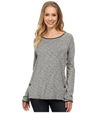 Jag Jeans Claudette Side Button Tweed Knit Salt Pepper Women's Sweater Gray