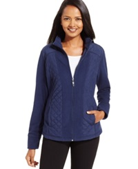 Style And Co. Sport Mixed Media Zip Up Track Jacket Only At Macy's Industrial Blue