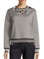 Fendi Studded Jersey Sweatshirt Grey