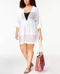 Dotti Plus Size Free Spirit Kimono Cover Up Women's Swimsuit White